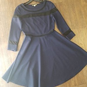 Navy Skater Dress with Mesh Inserts